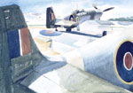 Mustangs in Readiness :: Watercolour, 38.7 x 56.5cm, 1943 (War Museum of Canada)